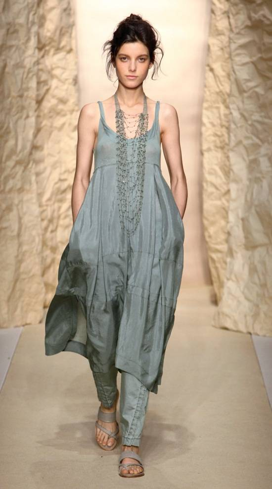 Shirley Ephraim for Donna Karan Long Draped Silk Crochet Chain Necklace in -Old Indigo- Runway