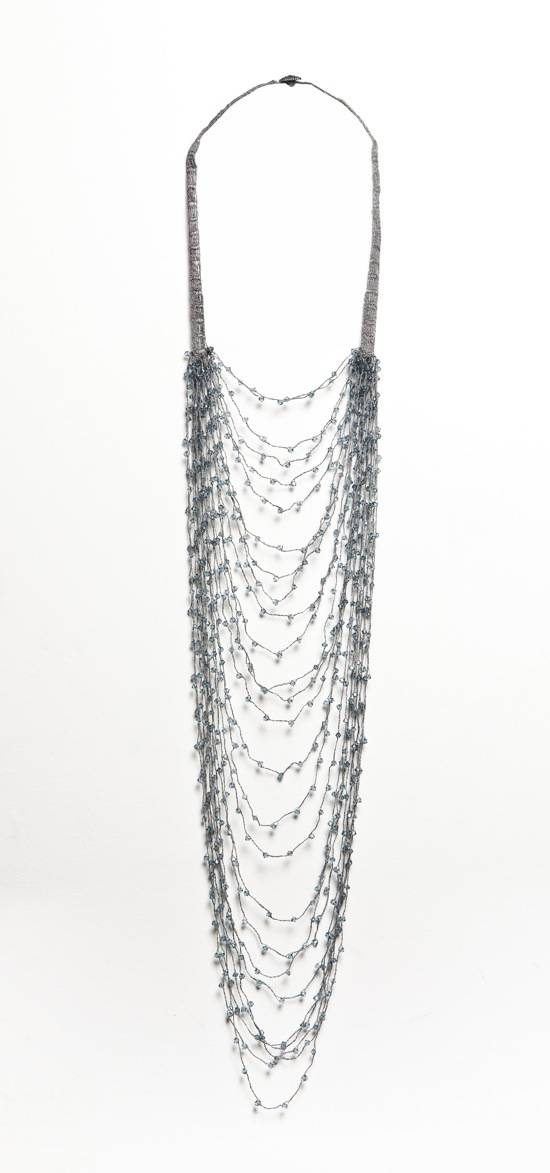 Shirley Ephraim for Donna Karan Long Draped Silk Crochet Chain Necklace