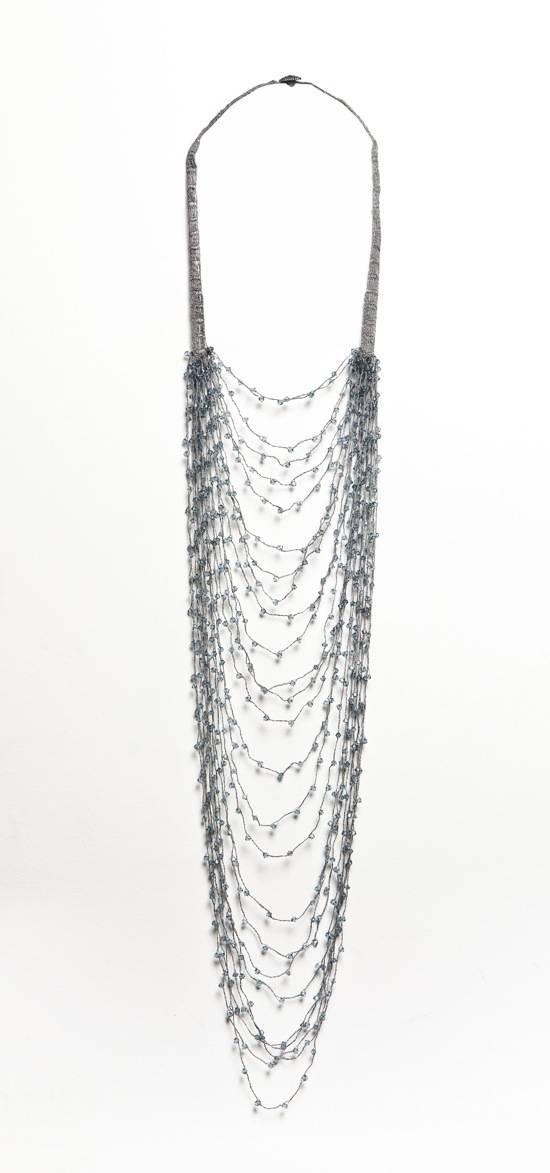 Shirley Ephraim for Donna Karan Long Draped Silk Crochet Chain Necklace