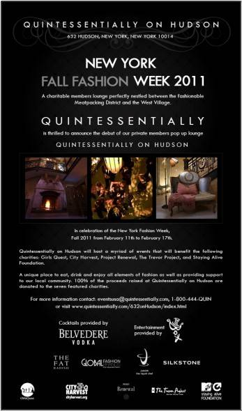 QUINTESSENTIALLY opens a charitable pop-up lounge during New York Fashion Week