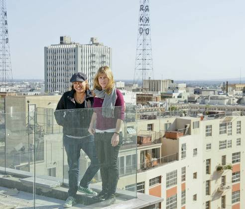 Coly Den Haan and Rachel Thomas on the Perch Rooftop