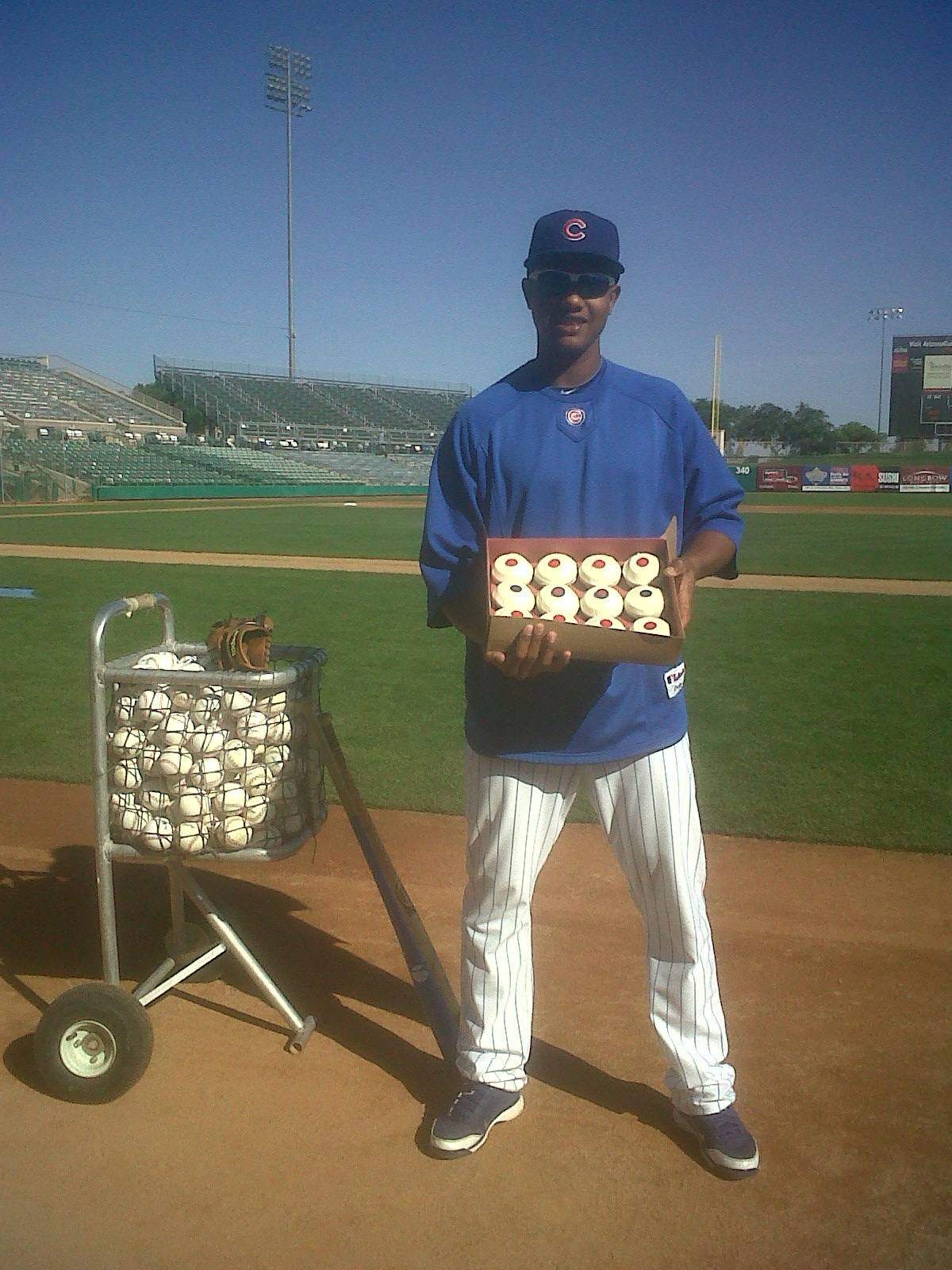 Starlin Castro with Sprinkles Red Velvet Cubs Cupcake