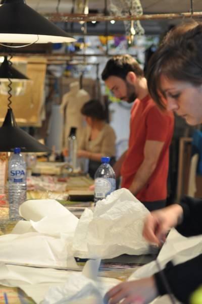 At work at the atelier de Isabelle de Bourgrave