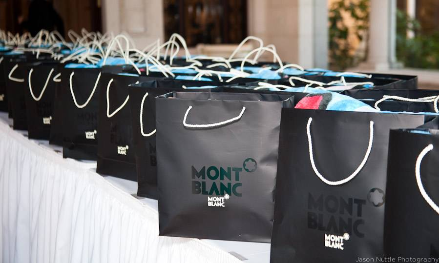 mont blanc gift bag with goodies