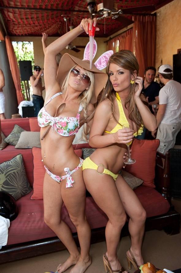 Angel Porrino and Laura Croft at TAO Beach