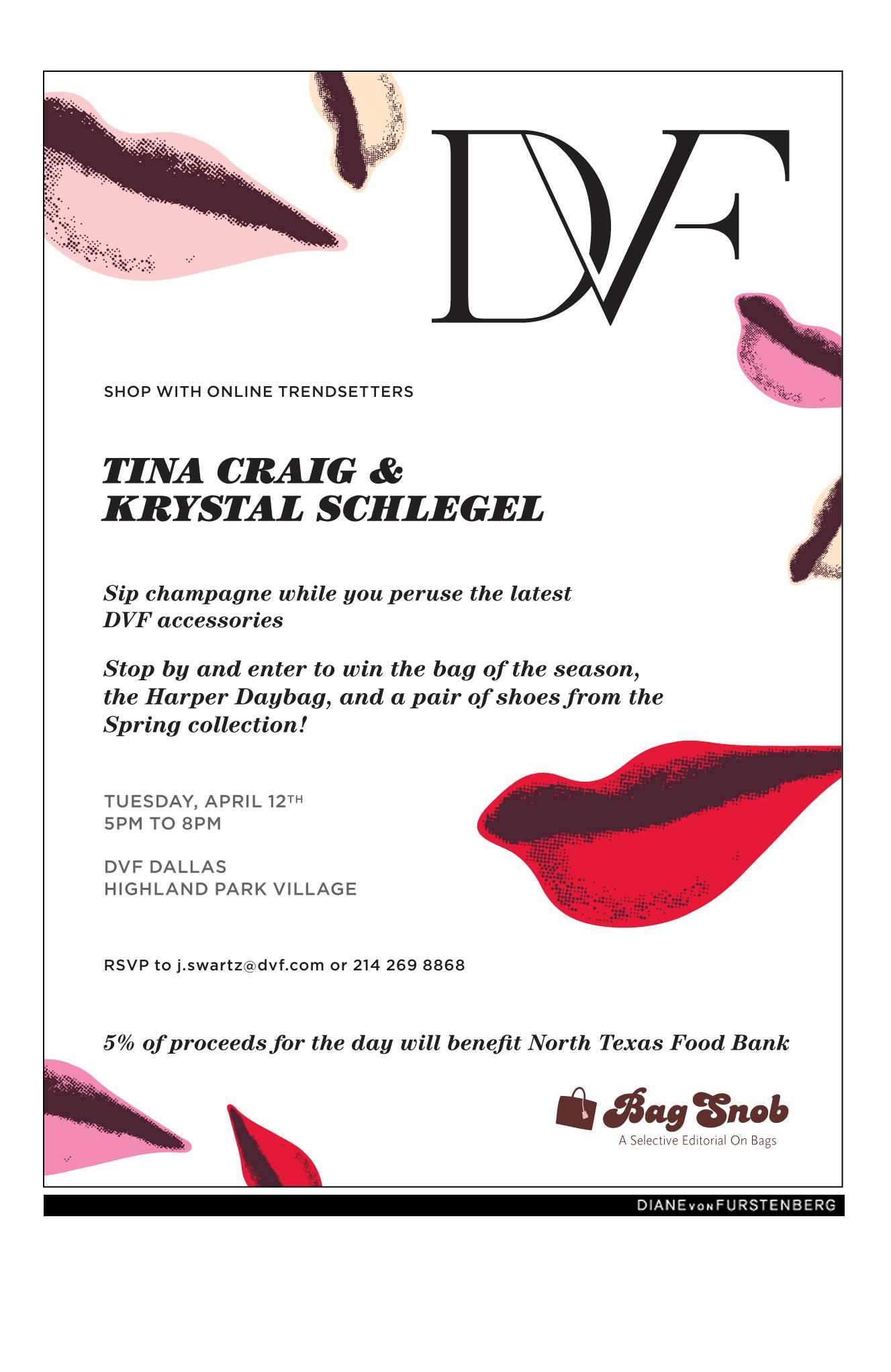 The Bag Snob, Tina Craig and Krystal Schlegel host a Shopping Event at Diane Von Furstenberg