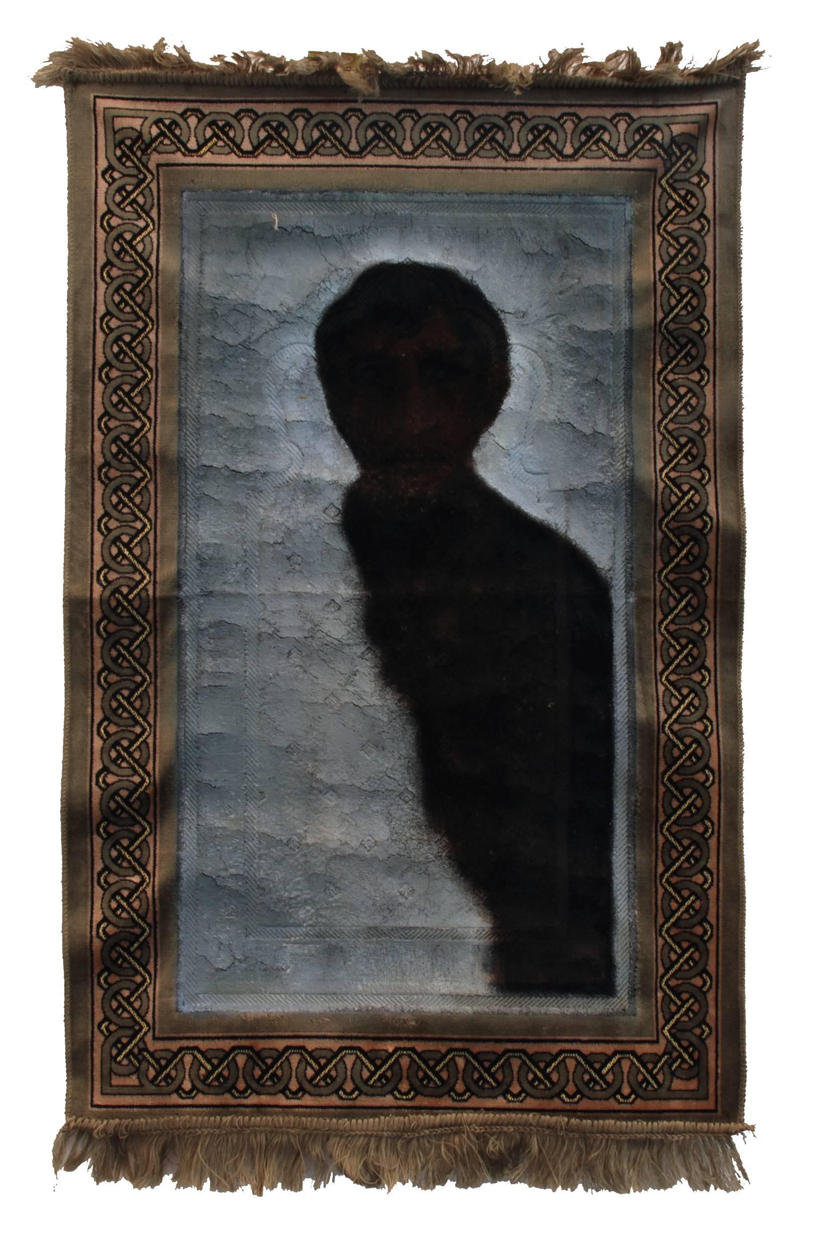 KY2008026x Kamel Yahiaoui – The Prayer of the Absent, 2003, 95 x 147 cm, mixed media on carpet,