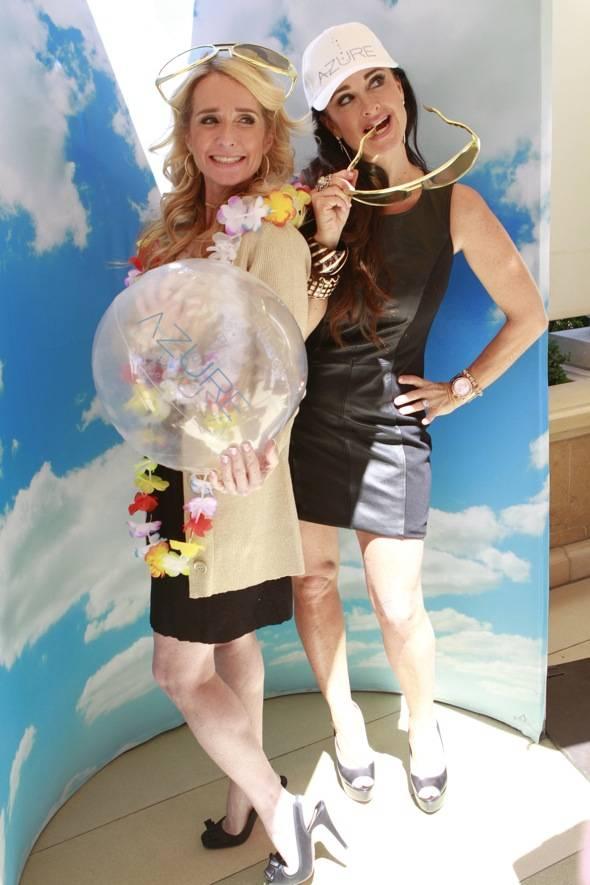 Kim and Kyle Richards dress up at Azure Luxury Pool season premiere