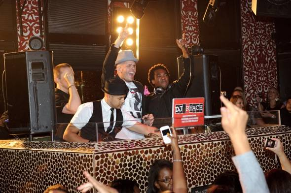 Perez Hilton with DJ Reach at TAO LV