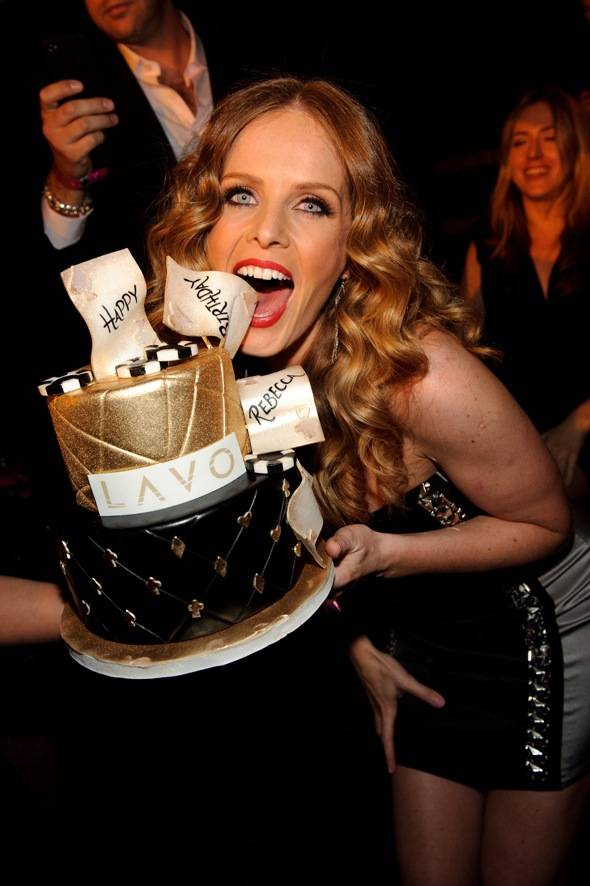 Rebecca Mader with cake at LAVO LV