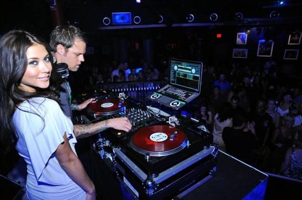 Arianny Celeste and DJ Loczi during Electric Dream at Studio 54 2, Las Vegas 5.6.11
