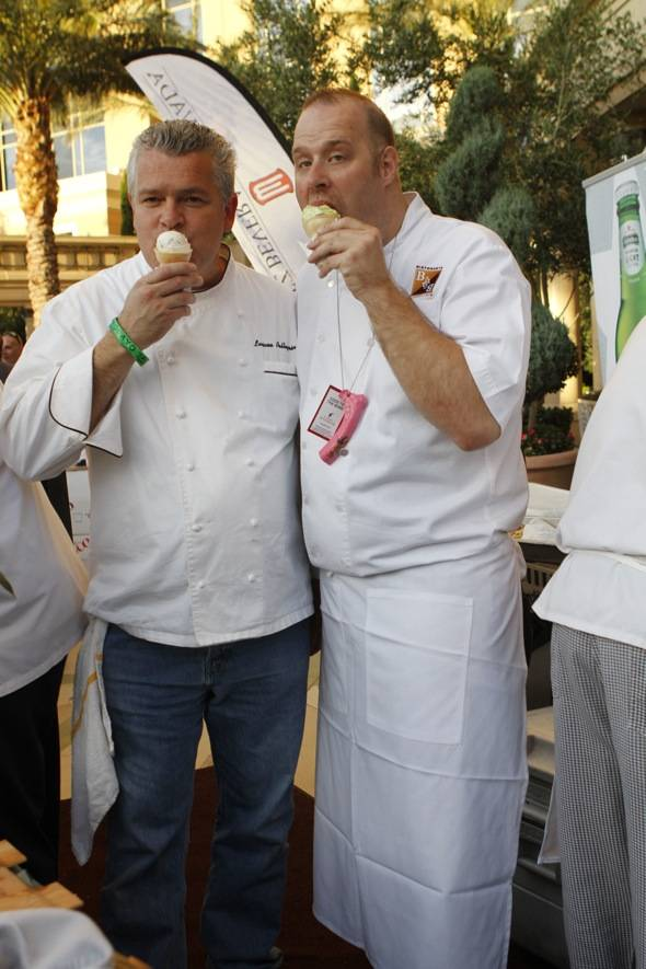Chef Luciano Pellegrini of Valentino and Executive Chef Zach Allen of Mario Batali's restaurants enjoying gelato