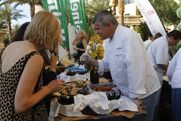Chef Luciano Pellegrini of Valentino describing his dish