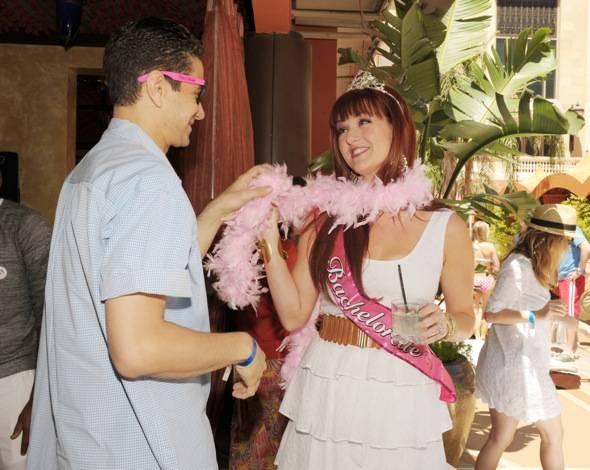 Elias Madias and Sara Rue at TAO Beach