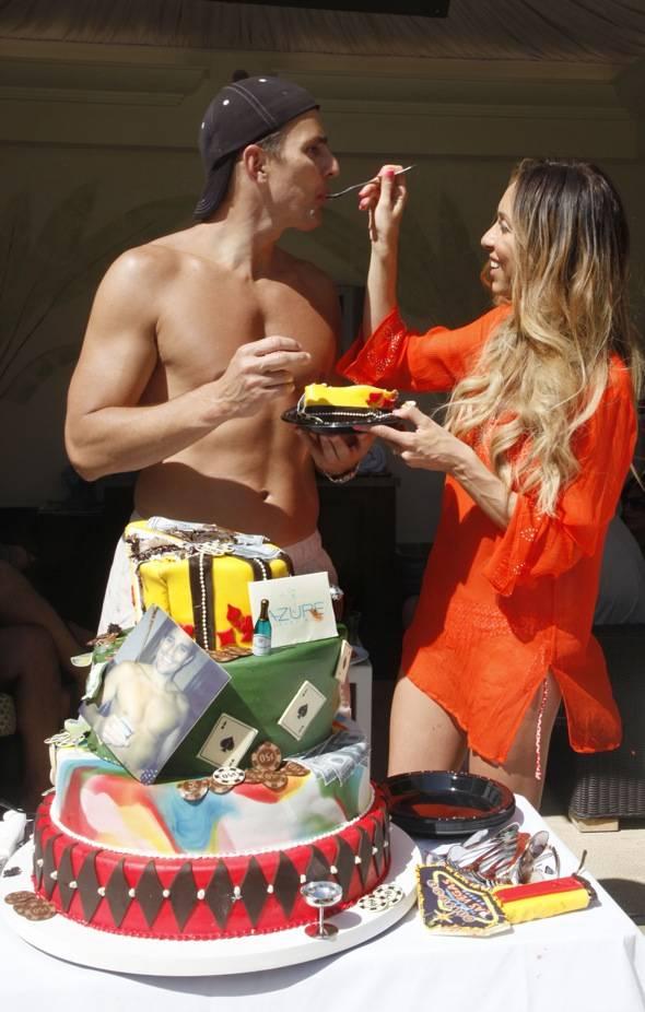 GIULIANA AND BILL EATING BILL'S BIRTHDAY CAKE AT AZURE