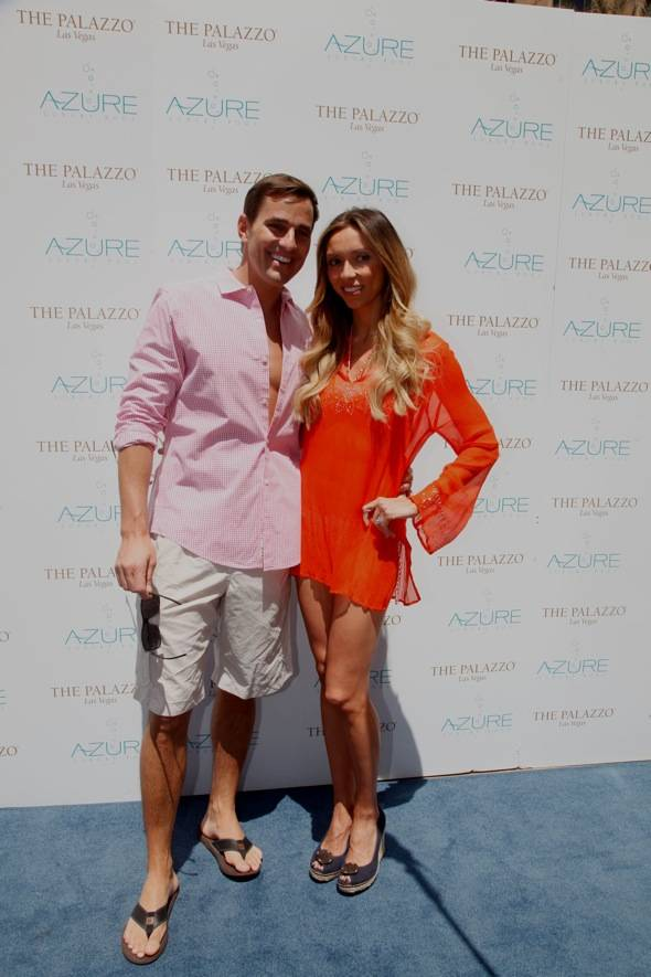 GIULIANA AND BILL ON THE BLUE CARPET AT AZURE LUXURY POOL