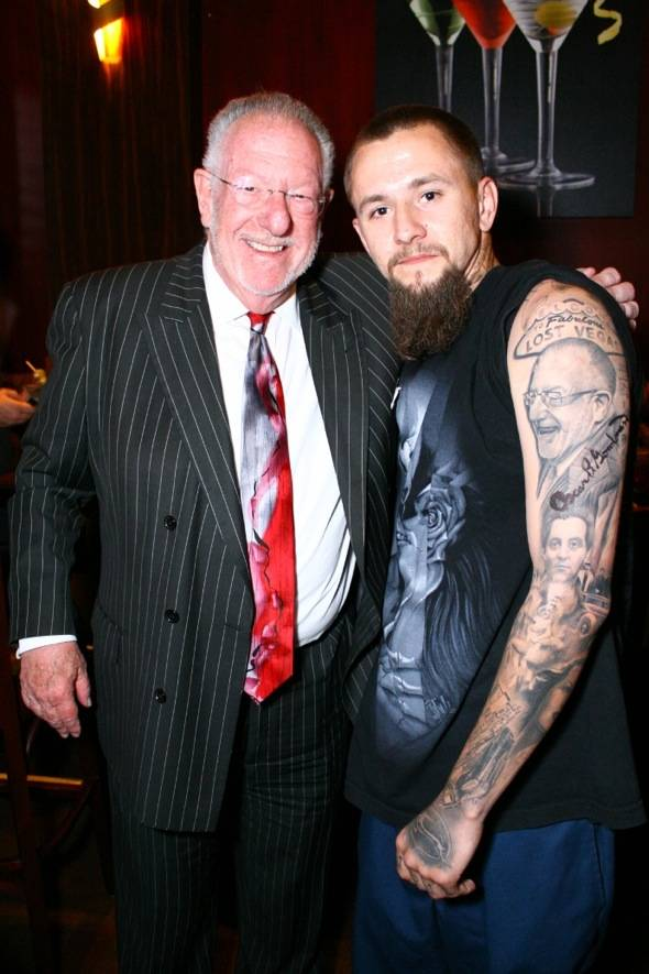 Las Vegas resident with Oscar Goodman tatoo and Mayor Oscar Goodman at the last Martinis with the Mayor event at The Martini