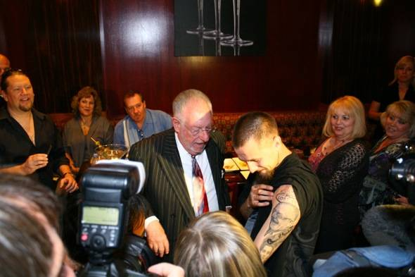 The reveal of the Oscar Goodman tattoo to Mayor Oscar Goodman