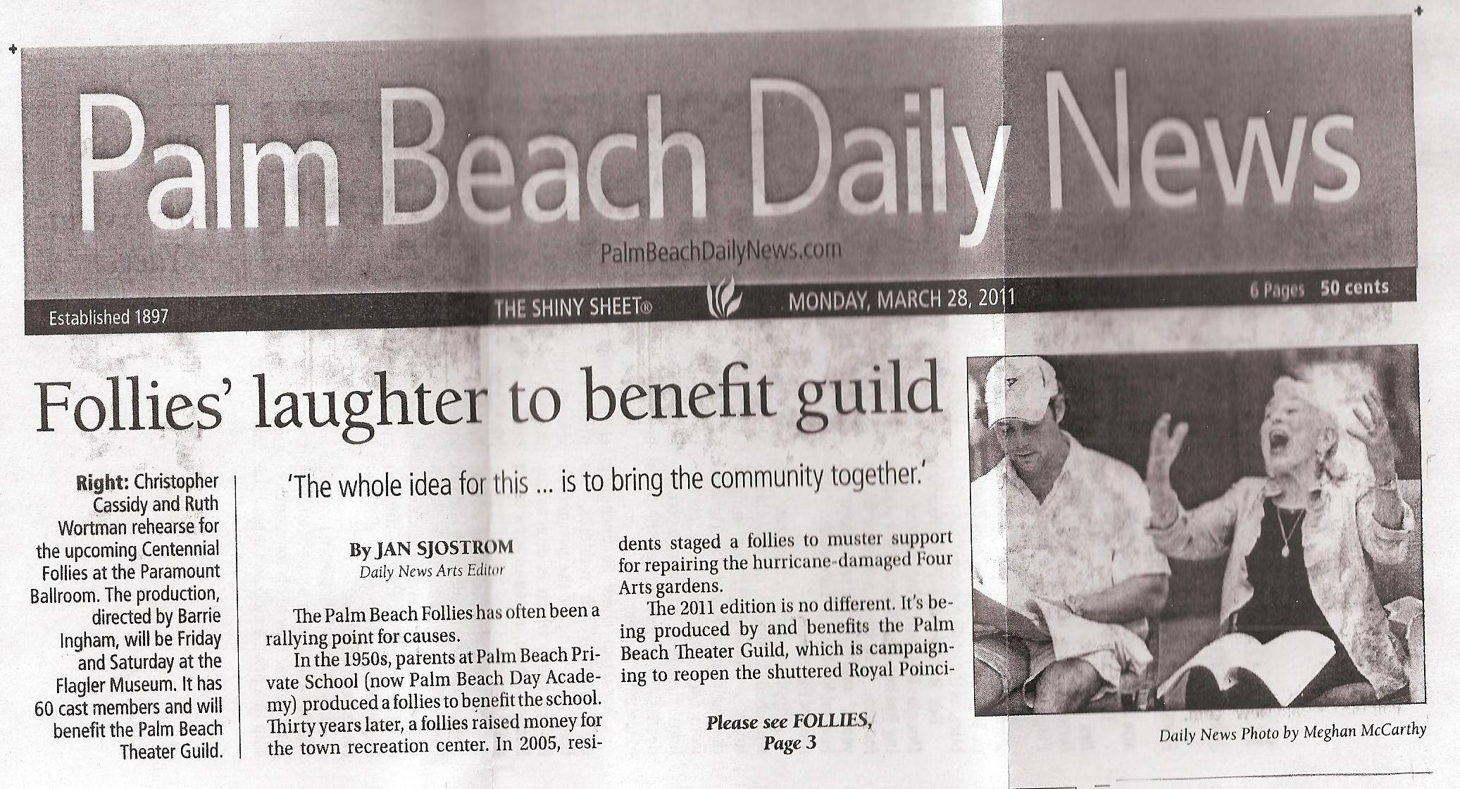 FOLLIES' LAUGHTER TO BENEFIT GUILD PB DAILY NEWS
