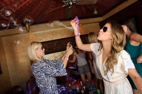 Lo Bosworth blows bubbles at TAO Beach