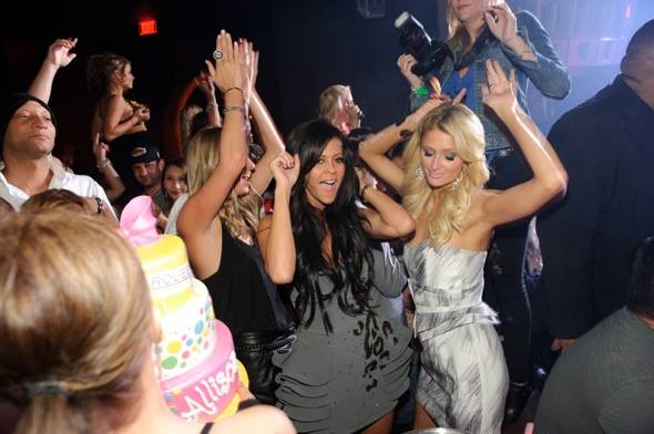 Nicky Hilton, Allison Melnick and Paris Hilton dance at Marquee