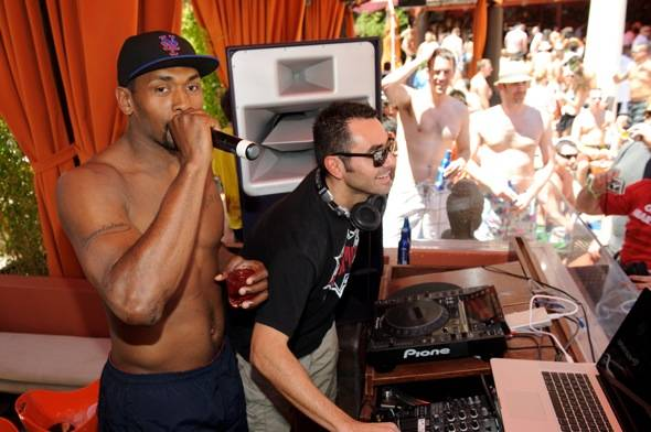 Ron Artest with DJ Jason Lema at TAO Beach