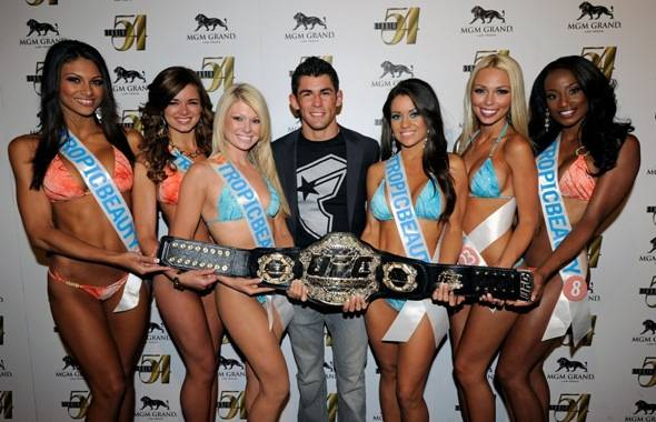 Dominick Cruz and Tropic Beauty Model Search Contestants on Carpet at Studio 54, Las Vegas, 7.2.11