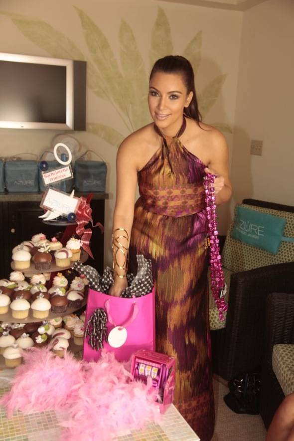 Kim with party favors