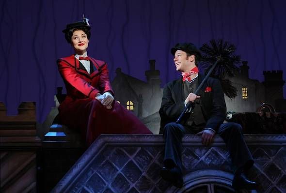 Steffanie Leigh as Mary Poppins and Nicolas Dromard as Bert in the National Tour Company of MARY POPPINS.  (c) DisneyCML  Photo by Joan Marcus