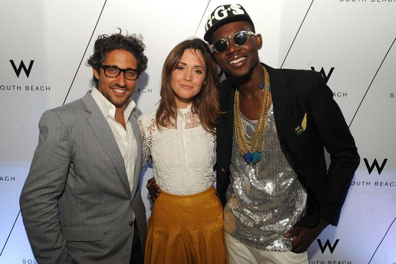 Michaelangelo L'Acqua + Rose Byrne + Theophilus London at W's Symmetry Live concert, celebrating W South Beach Hotel & Residences' Two Year Anniversary
