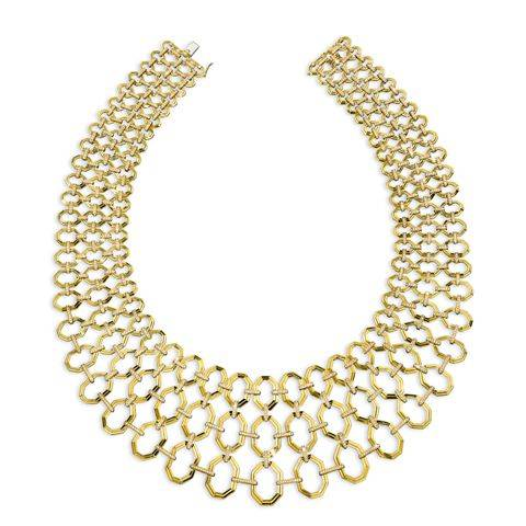 Octagonal Link Necklace with Pave Diamond Connections