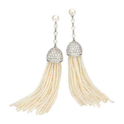 Tassel Seed Pearl & Diamond earrings