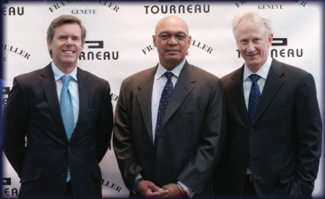 Tourneau CEO Jim Seuss, Reggie Jackson, and Franck Muller USA President Ronald Jackson