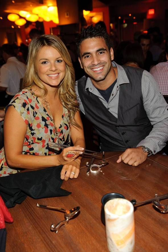 Ali Fedotowsky and Roberto Martinez of The Bachelor dine at TAO