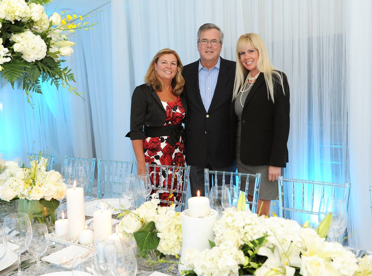Chris Landshut, Exec. Director of Cystic Fibrosis Foundation for South Florida_  Former Florida Governor Jeb Bush and Jen Klaassens, VP Programs with The Wasie Foundation