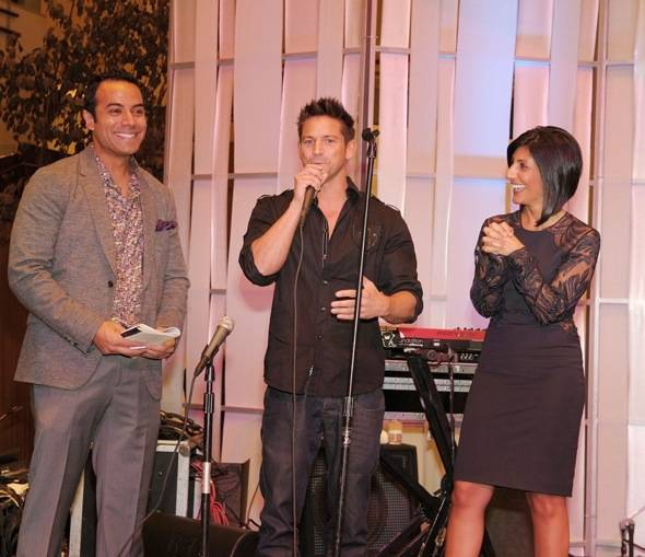 Chris Saldaña, 98 Degree member Jeff Timmons and Dayna Roselli at Fashion's Night Out at Crystals