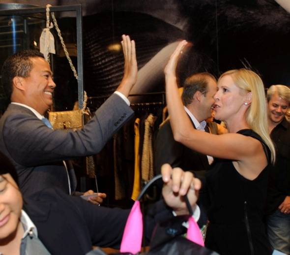 Lanvin raffle winner Jessica Amick celebrates at Fashion's Night Out at Crystals at CityCenter