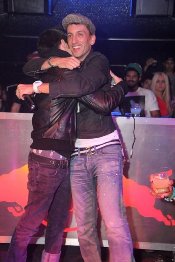 Pete & Clinton Hugging photo by Joe Fury