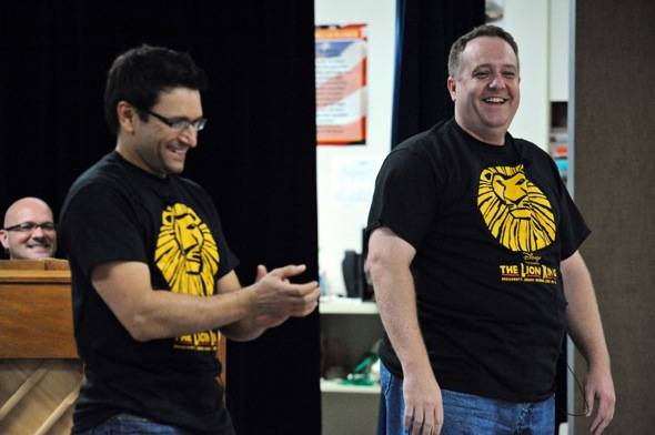 Aaron De Jesus, Adam Kozlowski perform at surprise LION KING assembly at Walter Long E.S. 10.25.11