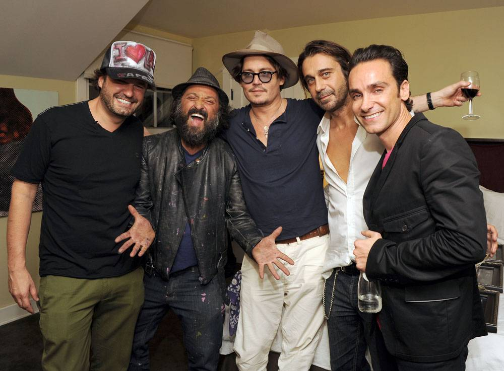 DOMINGO ZAPATA, MR. BRAINWASH, JOHNNY DEPP, JORDI MOLLA, AND ANTONIO DEL PRETE
