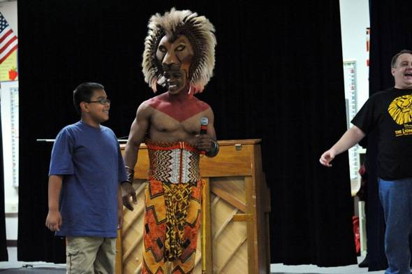 Daniel Hernandez and Niles Rivers as Simba at suprise LION KING assembly at Walter Long E.S. 10.24.11