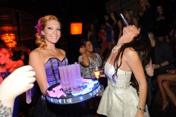 Laura Croft celebrates at LAVO