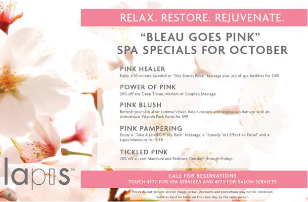 Lapis Spa: Bleau Goes Pink For Breast Cancer Awareness Month