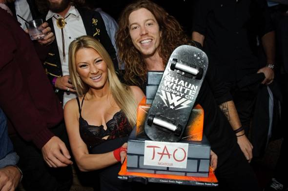 Olympic gold medalist Shaun White parties at Tao Nightclub.
