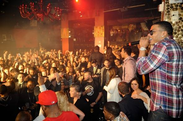 Nelly making a shout out at Tao 11.12.11