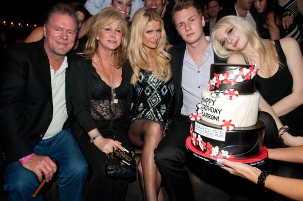 Paris Hilton, helps celebrate her brother, Barron Hilton's, 22nd birthday at Marquee Nightclub with her parents, Richard and Kathy Hilton, also accompanied by Vanessa DuBasso