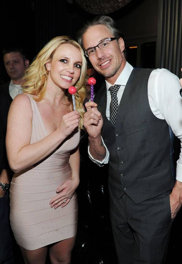 Britney and Jason with matching Sugar Factory couture pops