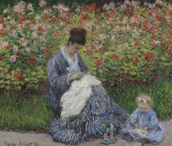 Claude Monet, Camille Monet and a Child in the Artist's Garden in Argenteuil, 1875