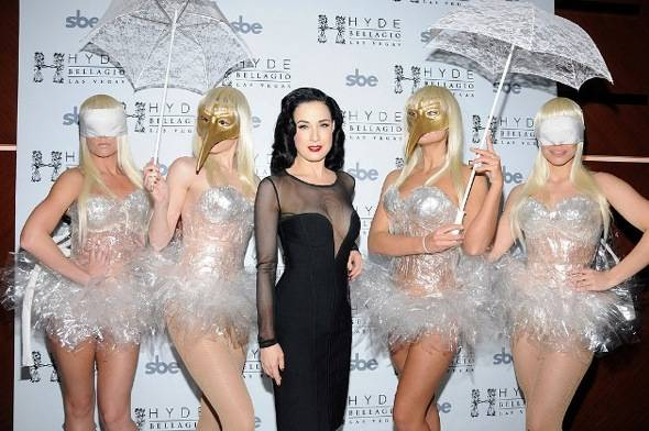 Dita Von Teese on Red Carpet with Performance Artists at Hyde Bellagio, Las Vegas, 1.14.12