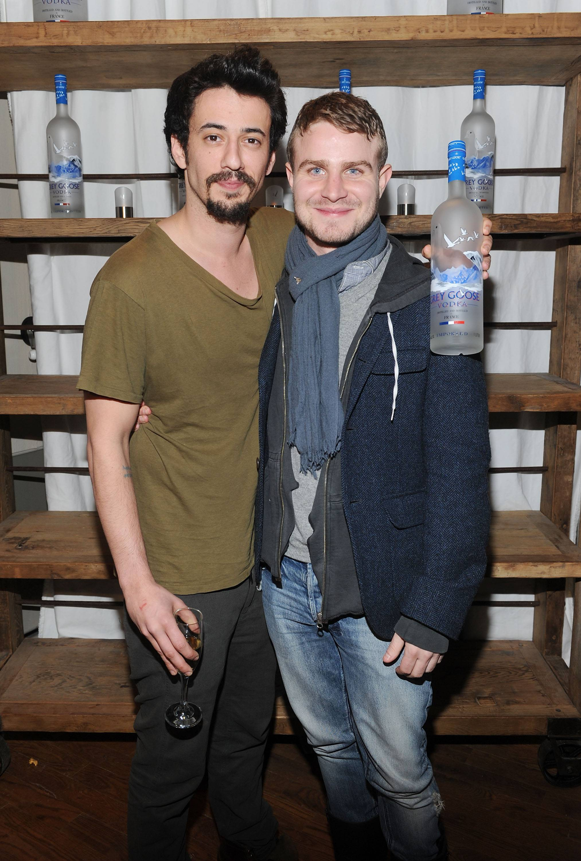 Josh Mond and Brady Corbet at the Simon Killer Dinner Party at the GREY GOOSE Blue Door at Sundance 1-21-12
